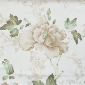 Priorwood - Sage - White fabric with detailed sage green flower impressions