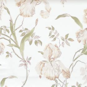 Moresley - Sage - White fabric with detailed sage green flower impressions