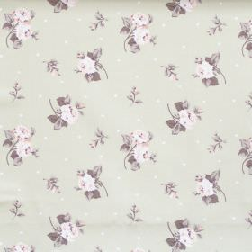 Hartsfield - Sage - Sage green fabric with flowers and dots