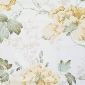 Priorwood - Buttercup - White fabric with detailed buttercup yellow floral impression