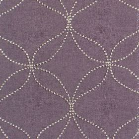Verve - Grape - Grape purple fabric with white dotted circles and wavy lines