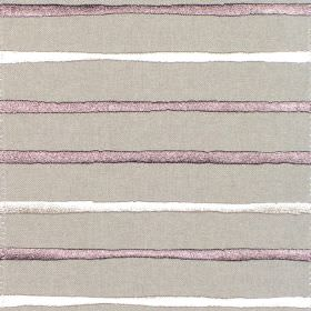 Calm - Grape - Grey fabric with horizontal grape purple and white stripes