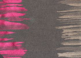 Serene - Magenta - Brown fabric with light brown and magenta pink vertical bands of irregular brushstrokes