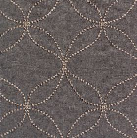 Verve - Onyx - Onyx black fabric with sandy dotted circles and wavy lines