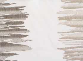 Serene - Stone - White fabric with stone sandy and grey vertical bands of irregular brushstrokes