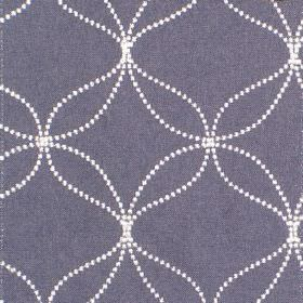 Verve - Sapphire - Sapphire blue fabric with sandy dotted circles and wavy lines