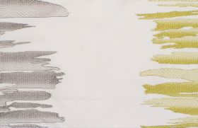 Serene - Zest - White fabric with grey and zest yellow vertical bands of irregular brushstrokes