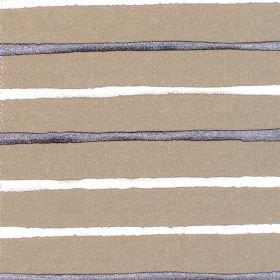 Calm - Sapphire - Brown fabric with horizontal sapphire blue and white stripes