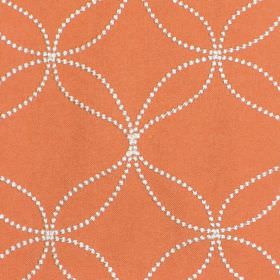 Verve - Tangerine - Tangerine orange fabric with sandy dotted circles and wavy lines