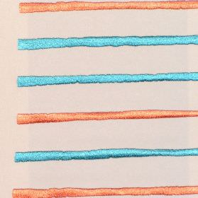 Calm - Tangerine - Sandy fabric with horizontal tangerine orange and blue stripes