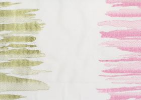 Serene - Pistachio - White fabric with pistachio green and pink vertical bands of irregular brushstrokes