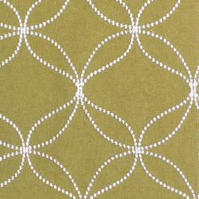 Verve - Pistachio - Pistachio green fabric with sandy dotted circles and wavy lines