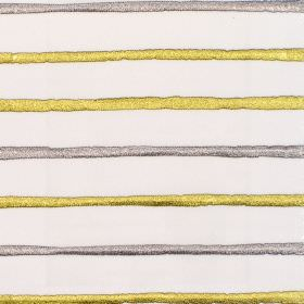 Calm - Zest - White fabric with horizontal zest yellow and grey stripes