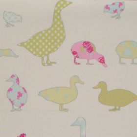 Tabitha - Sorbet - Various sorbet green duck impressions on white fabric for children