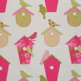 Thornbury - Watermelon - Watermelon pink birdhouses with birds on white fabric for children