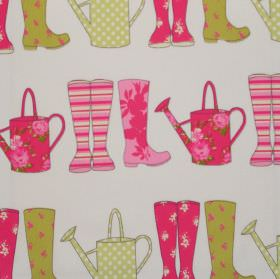 Elsie - Watermelon - Watermelon pink and green wellies on white fabric for children