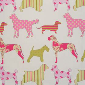 Hollyfield - Watermelon - Various dog impressions in watermelon pink on  white fabric