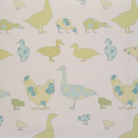 Tabitha - Spring - Various spring green duck impressions on white fabric for children