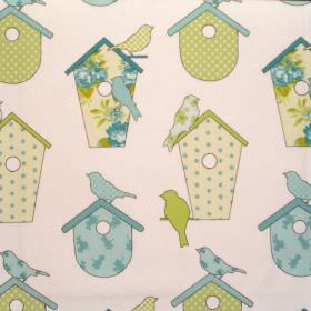 Thornbury - Spring - Spring green birdhouses with birds on white fabric for children