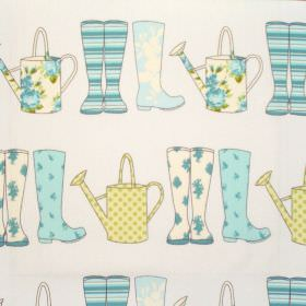 Elsie - Spring - Spring blue and white wellies on white fabric for children