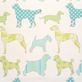 Hollyfield - Spring - Various dog impressions in spring blue on white fabric