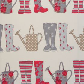 Elsie - Seaside Blue - Seaside blue and red wellies on white fabric for children