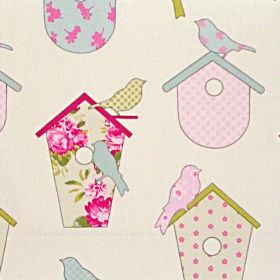 Thornbury - Sorbet - Colourful birdhouses with birds on white fabric for children