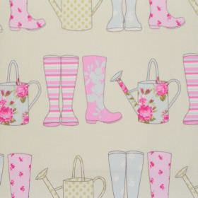 Elsie - Sorbet - Sorbet blue and pink wellies on white fabric for children
