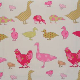 Tabitha - Watermelon - Various watermellon pink duck impressions on white fabric for children