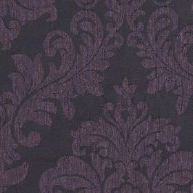 Venosa - Aubergine - Large jacquard style patterns covering 100% polyester fabric in dark, sophisticated shades of purple and blue