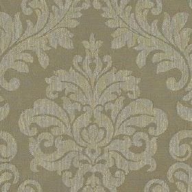 Venosa - Latte - Stone coloured 100% polyester fabric patterned with large , elegant jacquard style designs in a lighter shade of grey