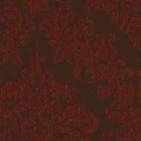 Venosa - Ruby - Indulgent, dark shades of red and brown-grey making up a bold, elegant jacquard style pattern on 100% polyester fabric