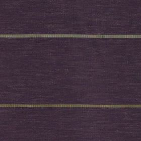 Tia - Aubergine - Thin silver-grey and light gold coloured horizontal stripes on dark purple polyester and polyester linen yarn fabric