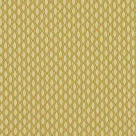 Vinci - Corn - A net-like pattern printed in gold on 100% polyester fabric in light yellow, creating a pattern of rows of pointed ovals