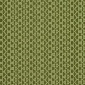 Vinci - Fern - Pale green and olive green coloured 100% polyester fabric, patterned with a net-like design and rows of pointed ovals