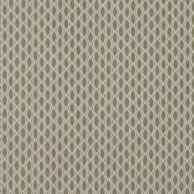 Vinci - Fog - Grey-beige 100% polyester fabric as a background to a white net-like design creating a pointed oval repeated pattern
