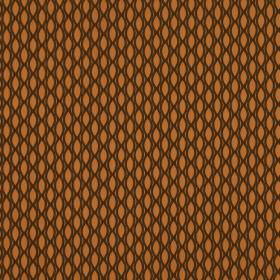 Vinci - Orange - 100% polyester fabric patterned in black and pumpkin orange featuring a design resembling a net and simple pointed ovals
