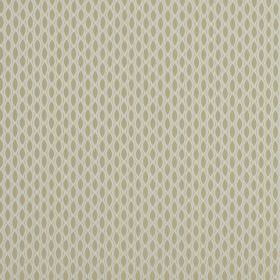 Vinci - Oyster - 100% polyester fabric in a warm beige colour, patterned with a cream coloured net-like design and pointed ovals