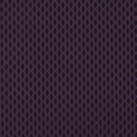 Vinci - Plum - A deep purple design resembling a net creating a pattern of rows of black pointed ovals printed on 100% polyester fabric