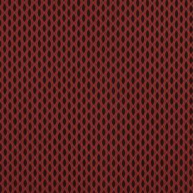 Vinci - Scarlet - A black background to a red design which resembles a net, creating a pattern of pointed ovals on 100% polyester fabric