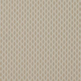 Vinci - Shell - Light brown 100% polyester fabric behind a cream design resembling a net, resulting in rows of small pointed oval shapes