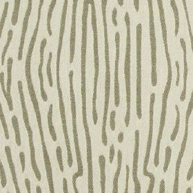 Ling - Earth - Off-white and light grey polyester and cotton blend fabric featuring vertical lines in an animal stripe style design