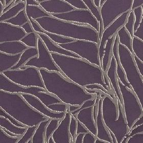 Whinny - Aubergine - Light grey coloured lines with white highlights running over a deep, dusky purple 100% polyester fabric background