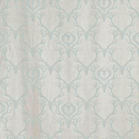 Deer Damask - Duck Egg - Duck egg blue coloured deer antlers repeatedly printed over off-white coloured fabric
