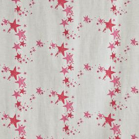 All Star - Candy - Arcs of red and pink stars printed on a light grey fabric background