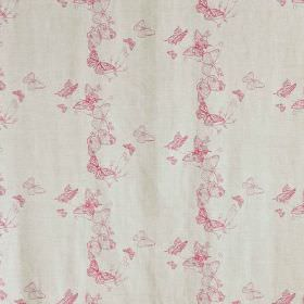 Butterflies - Raspberry - Fabric in off-white, with delicate pink butterflies arranged in circles as a pattern