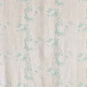 Butterflies - Ice Blue - Delicate duck egg blue coloured butterflies arranged in circles on very pale grey-white coloured fabric