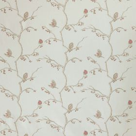 The English Robin - Parchment - Small, delicate light grey and pale pink flowers and branches patterning pale cloud grey coloured linen and co