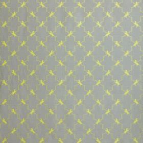 Horse Treillis - Acid Yellow - A simple, regular, light yellow pattern of small shapes and a zigzag grid on light dusky blue linen and cotto