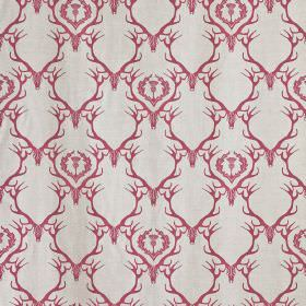 Deer Damask - Claret - Very pale grey coloured fabric printed with a repeated design of red-pink deer antlers